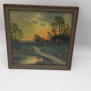Antique framed farm country sunset picture 1931